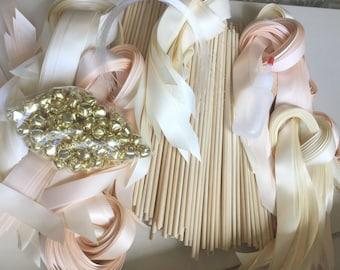 120 DIY Wedding wand kit your choice of ribbon color