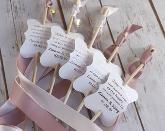 60 ribbon wands antique mauve and blush wedding send off ribbon streamers with bell wedding wand tags