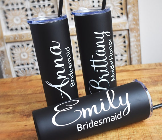 Personalized Bridesmaid tumbler custom cups with straws insulated marble wedding tumblers