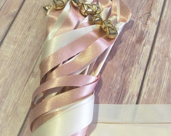 50 shimmering Wedding ribbon wands ivory and rose gold ribbon and bell send off ribbon