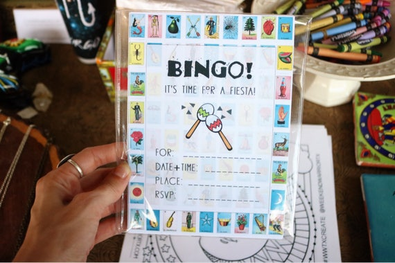 set of fill in invitations loteria mexican bingo invitation etsy
