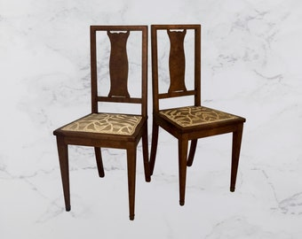 Chairs of the XXth beginning. Marquetterie of bramble of wild cherry and rosewood. Tapestry made with Italian tissue : Venice, Rubelli.