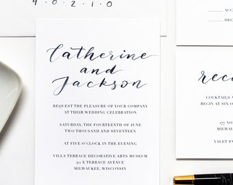 Watercolor Wedding Invitation Suite / Calligraphy / Navy / Simple / Brush Lettered / Modern / Semi Custom Invitation Suite