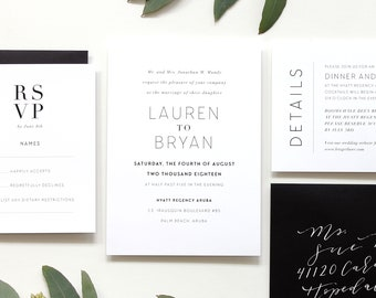 Black and White Wedding Invitation / Traditional / Invitation Suite / Classic / Minimal / Save the Date / Semi Custom Wedding Invitation