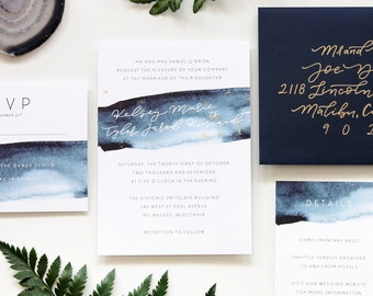 Wedding Invitation Suite / Watercolor / Blue Agate / Geode / Calligraphy / Simple / Modern / Semi Custom Wedding Invitation / Hand Lettered