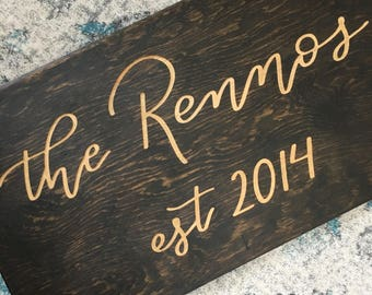 Last Name Wedding Sign | Established Sign | Newlyweds | Wedding Gift |