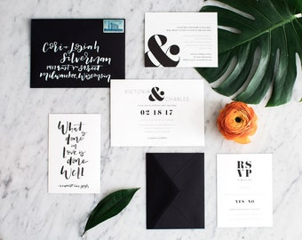 Black and White Wedding Invitation Suite / Modern / Minimal / Bold / Wedding Stationery / Hand Lettered