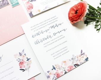 Calligraphy Wedding Invitation Suite / Hand Lettering / Watercolor Pink Floral / Semi Custom Wedding Invitation