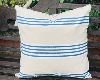 Mediterranean Stripe Navy Feather Cushion