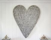 Very Large Grey Wicker Heart- 87cm