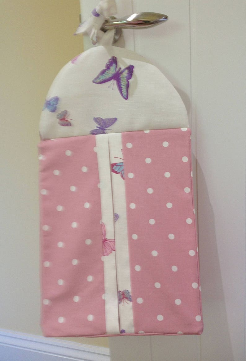 Nappy Stacker trimmed with a Laura Ashley Summer Meadow trimmed with pink polka dot fabric