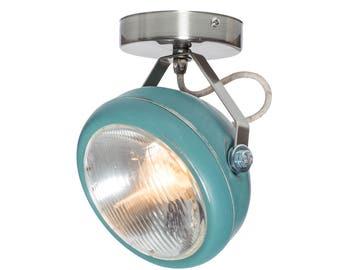 No.7 spotlight in aqua – vintage lamp made of headlight - handmade – wall or ceiling light - vintage or industrial interior