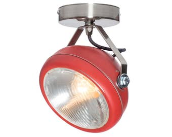No.7 vintage spotlight in red – lamp made of headlight - handmade – wall or ceiling light - vintage or industrial interior