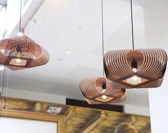 No.39 Ovals pendant lamp - lasercut wood - unique Dutch design hanging lamp