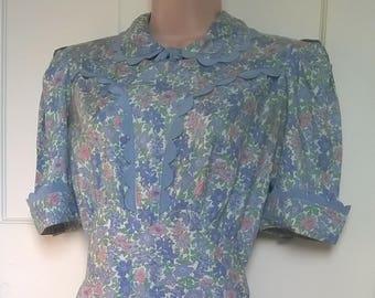 Original authentic 30s 40s Pure silk floral Tea Dress  Size 10/12