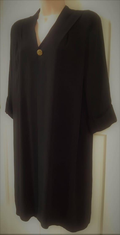 Original 30s/40s Black Coat dress in crepe de Chin