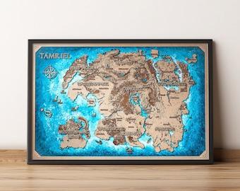 The Tamriel Map wood, The Elder Scrolls map, Tamriel Skyrim map. Room Decor, Home Decor, Tamriel TES map, Series film art . Tamriel map