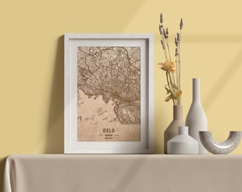 Wooden map of Oslo, Norway. 3D laser engraved custom vintage map. Wood art. Personalized woodcut of a city of the world. Home decor
