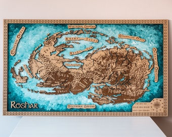Roshar wood map, gift for him, roshar map, fantasy continent, custom, The Stormlight Archive map, Aged, Handmade, Authentic Gift, Gamer gift
