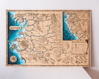 The Witcher Map wood, Northern Kingdoms map, witcher continent map. Room Decor, Home Decor, wild hunt map, Series film art . Witcher map