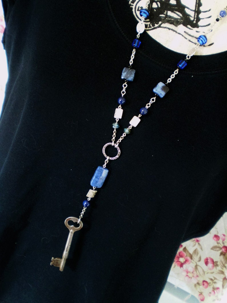 OOAK Upcycled Assemblage Rosary Neckace featuring Vintage Key and Mixed Blue Stones /& Crystals found objects Steampunk statement Lapis