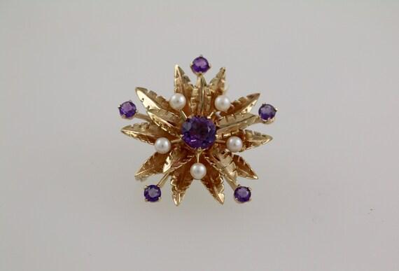 9ct Pearl + Amethyst Star Brooch