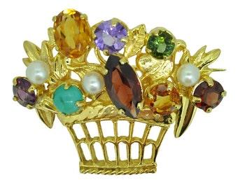 Vintage Gemstone Brooch