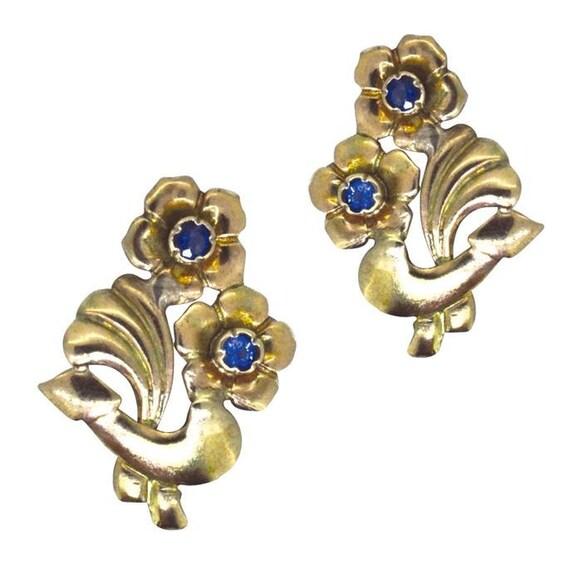 Sapphire Flower Earrings