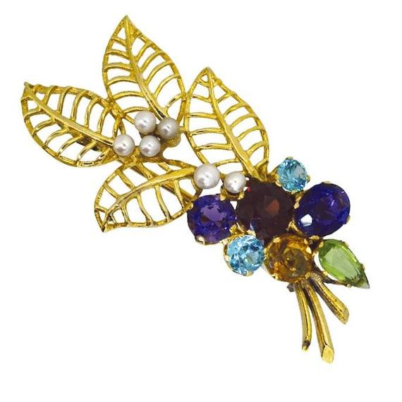 Gemstone Flower Brooch