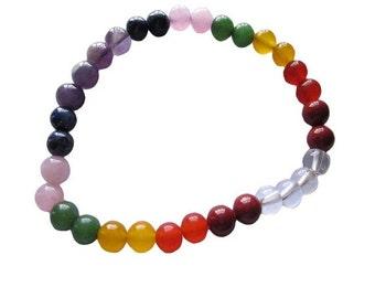 WholesaleGemShop 7-Chakra Bracelet-6 mm Bead with Free Shipping