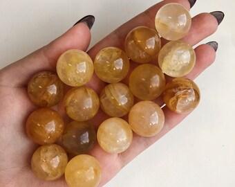 Golden quartz sphere | Etsy