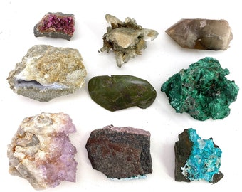 Wholesale Lot of Mixed Mineral Specimens, chrysocolla, malachite, polished crystals, wholesale crystals, bulk crystals