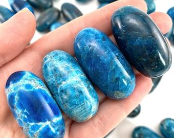 ONE Polished Blue Apatite, blue apatite stone, tumbled blue apatite, apatite tumble, blue apatite palm stone