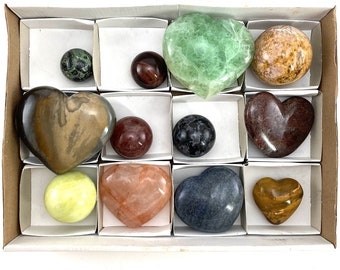 Wholesale Lot of Mixed Mineral Specimens, fluorite, tigers eye, polished crystals, wholesale crystals, crystal heart, crystal ball