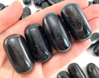 ONE Polished Black Tourmaline Stone, natural tourmaline, tumbled black tourmaline, tourmaline tumble, black tourmaline palm stone