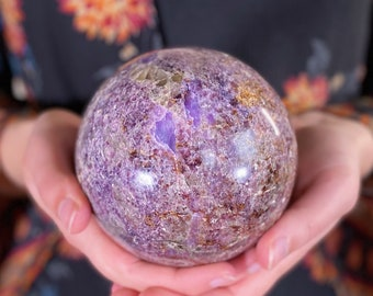 XL Lepidolite Sphere, crystal ball, lepidolite crystal ball, lepidolite
