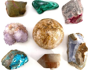 Wholesale Lot of Mixed Mineral Specimens, chrysocolla, malachite, polished crystals, wholesale crystals, crystal ball