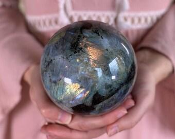 XL labradorite sphere, labradorite ball, crystal sphere, large labradorite sphere