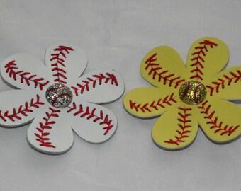 b905add5b19c7 Baseball Softball leather flower cheerleading clips for flip flops