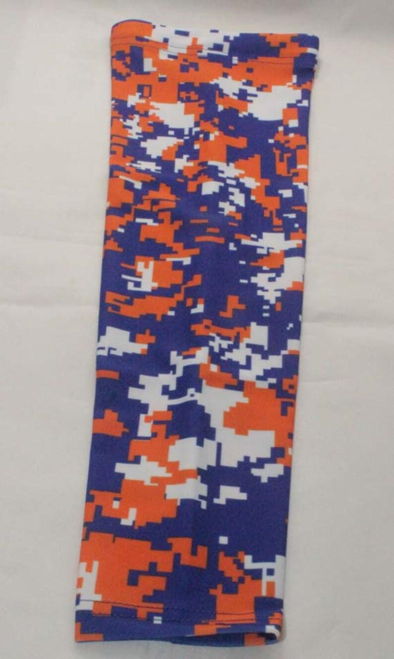 Orange /& Gray Grey Sports Arm Sleeve Digital Camo Baseball Football Basketball