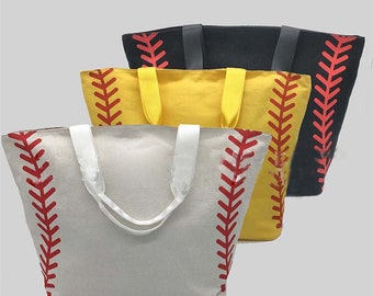 New Style X Large 22 Inches Wide Softball Lace Stitching Print Baseball Canvas Cotton Tote Bags Sports Girls Team Players Accessories