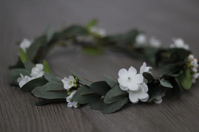 flower crown Greenery Crown baby breath crown olive leaf
