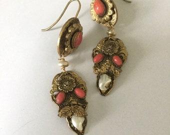 9ct Gold /& Coral Red Screw Back Stud Earrings Screwback Studs