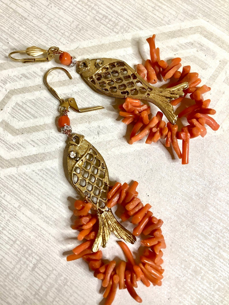 FISHING FOR COMPLIMENTS vintage Coral Fish Pendant EarringsGenuine Deco Coral BranchAsian Fish CharmRhinestoneAssemblage Dangle Earrings