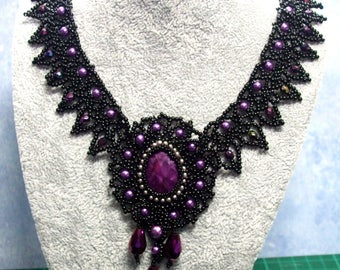 Handmade Downtown style Lady Violet beaded necklace