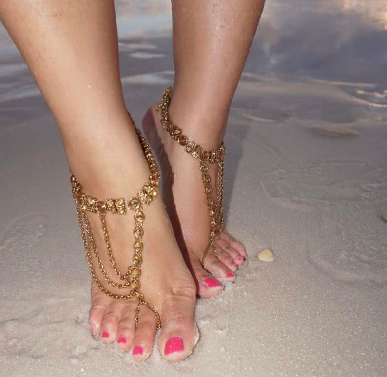 c7ae82577a8bf GOLD Rhinestone Barefoot Sandals Foot BLING Wedding Bride