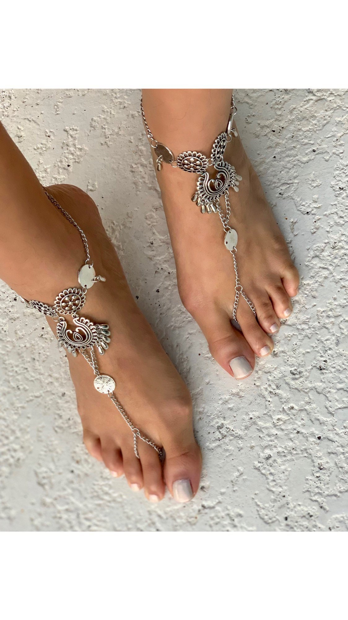 2656c7e1372fb Silver antique finish coin barefoot sandals foot chain foot etsy jpg  1124x2000 Bling foot jewelry