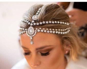 Silver Gold Kundan Pearl Matha Patti Wedding Bridal Goddess Bohemian Boho Grecian Head Chain Hair Jewelry Head Piece Bollywood Bride Glam