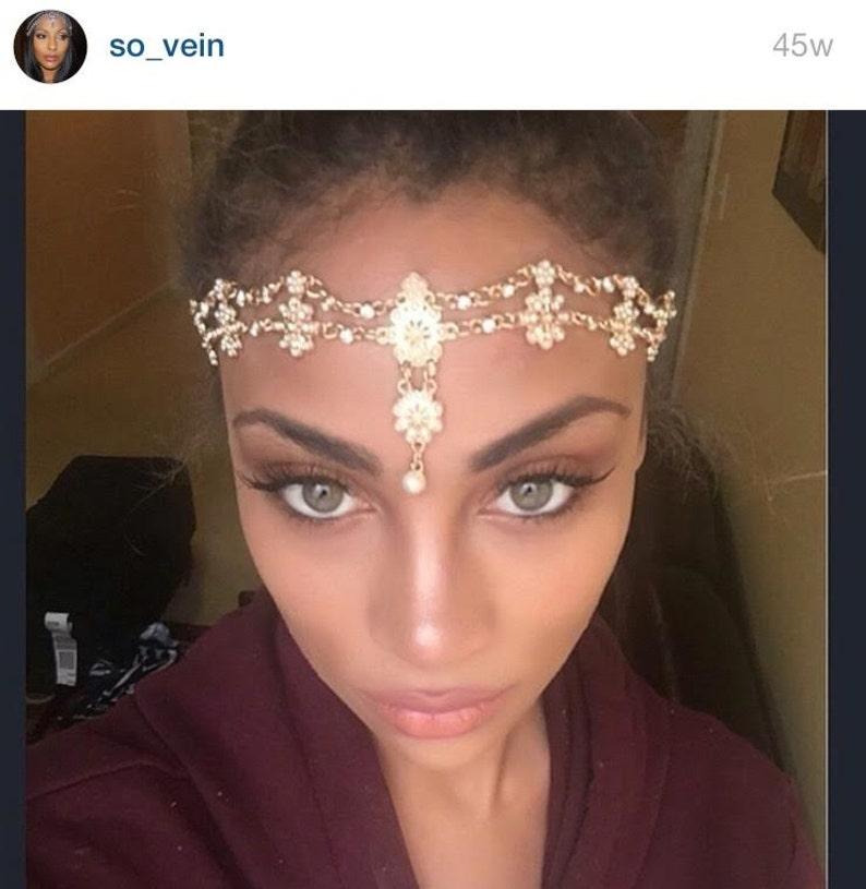Gold Hair Jewelry Head Chain Head Piece Flower Pearl Bridal image 0