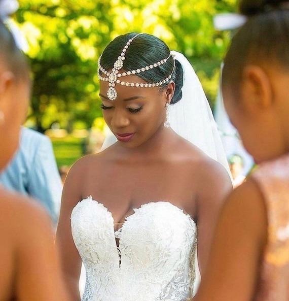 Rose Gold Princess Goddess Hair Jewelry Gold Silver Rhinestones Bridal Wedding Head Piece Headdress Bride Glamorous Head Chain